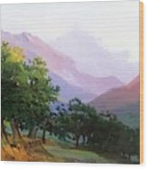 Oaks In The Mountains Of Carrara Wood Print