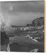Ocean Splash In Black And White Wood Print