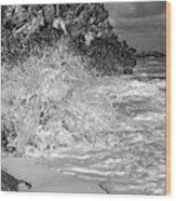 Ocean Wave Splash In Black And White Wood Print