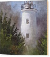 Ocracoke Light Wood Print