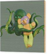 Octopus Green And Bear Wood Print