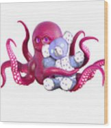 Octopus Pink With Bear Wood Print