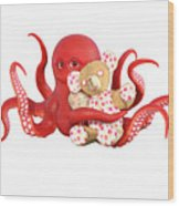 Octopus Red With Bear Wood Print
