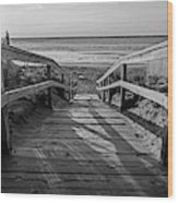 Ogunquit Beach Footbridge At Sunrise Ogunquit Maine Black And White Wood Print