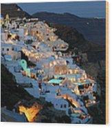 Oia, Santorini Greece At Night Wood Print