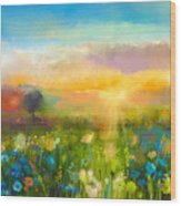 Oil Painting  Flowers Dandelion Wood Print