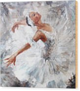 Oil Painting, Girl Ballerina. Drawn Wood Print