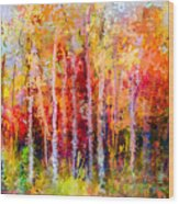 Oil Painting Landscape, Colorful Autumn Wood Print