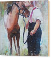 Oil Painting Of Little Girl Petting Her Wood Print