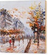 Oil Painting - Street View Of Paris Wood Print