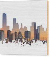 Okc Skyline Sunset Silhouette Wood Print