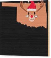 Oklahoma Christmas Hat Antler Red Nose Reindeer Wood Print