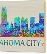 Oklahoma City Watercolor Wood Print