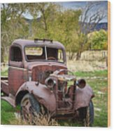 Old Abandoned Chevy Truck Wood Print