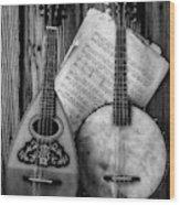 Old Banjo And Mandolin Black And White Wood Print
