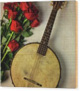 Old Banjo And Roses Wood Print