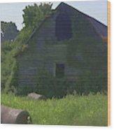 Old Barn And Hay Bales 2 Wood Print