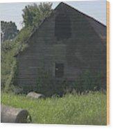 Old Barn And Hay Bales 3 Wood Print