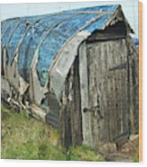 old boat hut at Lindisfarne island Wood Print