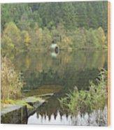 old boathouse at Loch Ard near Aberfoyle in autumn Wood Print