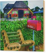 Old Dutch Cottage Painting Wood Print