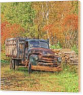 Old Farm Truck Fall Foliage Vermont Square Wood Print