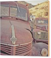 Old Friends Two Rusty Vintage Cars Jerome Arizona Wood Print