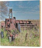 Old Hay Baler Wood Print
