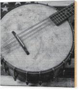 Old Mandolin Banjo In Black And White Wood Print