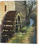 old mill wheel and stream at Preston Mill, East Linton Wood Print