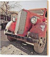 Old Red Truck Jerome Arizona Wood Print