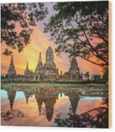 Old Temple Wat Chaiwatthanaram Wood Print