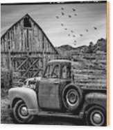 Old Truck At The Barn Bordered Black And White Wood Print