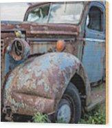 Old Vintage Blue Pickup Truck Among The Weeds Wood Print
