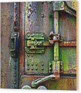 Old Weathered Railroad Boxcar Door Wood Print