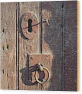 Old Wooden Door And Keyhole Wood Print