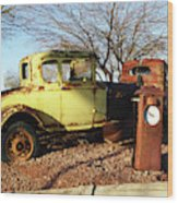 Old Yellow Coupe Wood Print