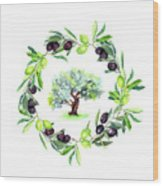 Olives Branches Wreath With Olive Tree Wood Print