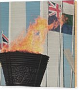 Olympic Torch Wood Print