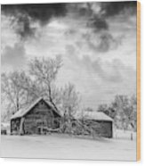 On A Winter Day Monochrome Wood Print