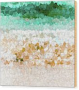 On The Beach Abstract Painting Wood Print