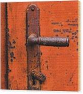 Orange Door Handle Wood Print