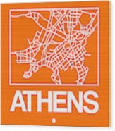 Orange Map Of Athens Wood Print