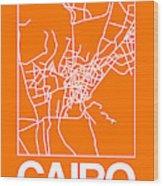 Orange Map Of Cairo Wood Print