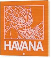 Orange Map Of Havana Wood Print