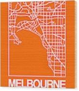 Orange Map Of Melbourne Wood Print
