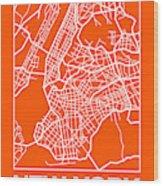 Orange Map Of New York Wood Print