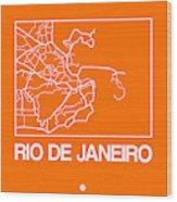 Orange Map Of Rio De Janeiro Wood Print