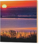 Orange Sunrise On Benbrook Lake Wood Print