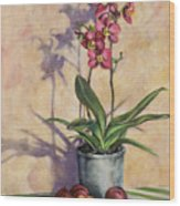 Orchids And Plums Wood Print